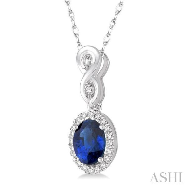 6x4 MM Oval Cut Sapphire and 1/10 Ctw Round Cut Diamond Pendant in 14K White Gold with Chain Image 2 Trinity Diamonds Inc. Tucson, AZ