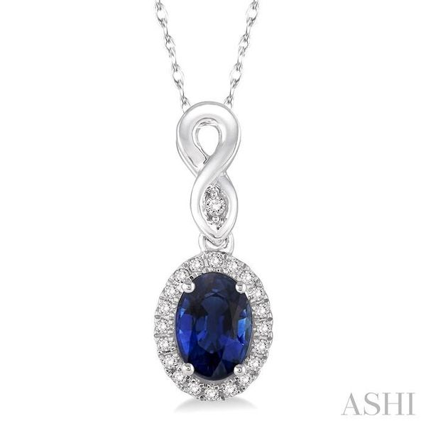 6x4 MM Oval Cut Sapphire and 1/10 Ctw Round Cut Diamond Pendant in 14K White Gold with Chain Trinity Diamonds Inc. Tucson, AZ