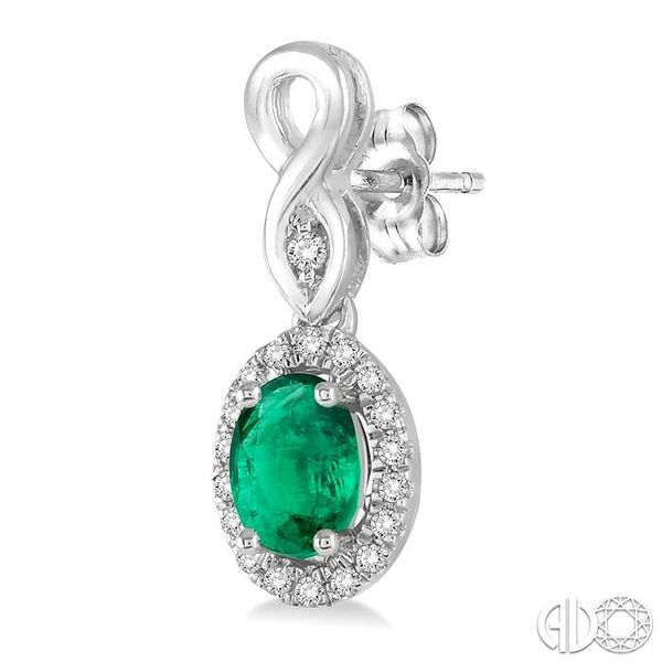 5x3 MM Oval Cut Emerald and 1/6 Ctw Round Cut Diamond Earrings in 10K White Gold Image 3 Trinity Diamonds Inc. Tucson, AZ