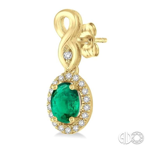 5x3 MM Oval Cut Emerald and 1/6 Ctw Round Cut Diamond Earrings in 10K Yellow Gold Image 3 Trinity Diamonds Inc. Tucson, AZ