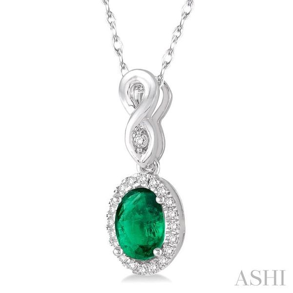 6x4 MM Oval Cut Emerald and 1/10 Ctw Round Cut Diamond Pendant in 10K White Gold with Chain Image 2 Trinity Diamonds Inc. Tucson, AZ