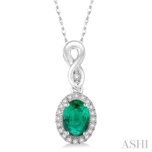 6x4 MM Oval Cut Emerald and 1/10 Ctw Round Cut Diamond Pendant in 10K White Gold with Chain Trinity Diamonds Inc. Tucson, AZ