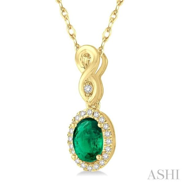 6x4 MM Oval Cut Emerald and 1/10 Ctw Round Cut Diamond Pendant in 10K Yellow Gold with Chain Image 2 Trinity Diamonds Inc. Tucson, AZ
