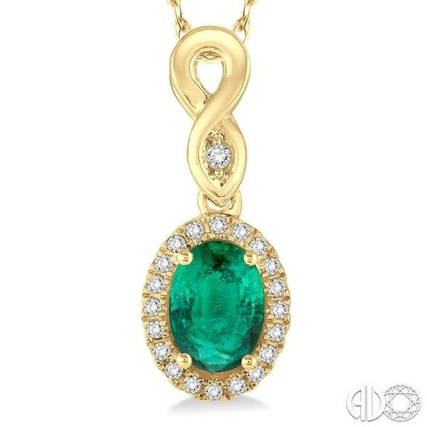 6x4 MM Oval Cut Emerald and 1/10 Ctw Round Cut Diamond Pendant in 10K Yellow Gold with Chain Image 3 Trinity Diamonds Inc. Tucson, AZ