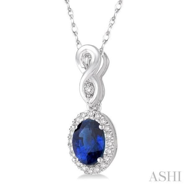 6x4 MM Oval Cut Sapphire and 1/10 Ctw Round Cut Diamond Pendant in 10K White Gold with Chain Image 2 Trinity Diamonds Inc. Tucson, AZ