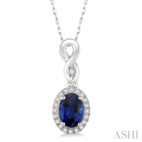 6x4 MM Oval Cut Sapphire and 1/10 Ctw Round Cut Diamond Pendant in 10K White Gold with Chain Trinity Diamonds Inc. Tucson, AZ