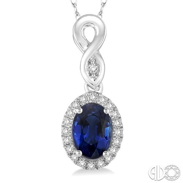 6x4 MM Oval Cut Sapphire and 1/10 Ctw Round Cut Diamond Pendant in 10K White Gold with Chain Image 3 Trinity Diamonds Inc. Tucson, AZ