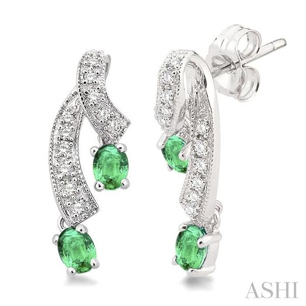 4x3MM Oval Cut Emerald and 1/5 Ctw Round Cut Diamond Earrings in 14K White Gold Trinity Diamonds Inc. Tucson, AZ