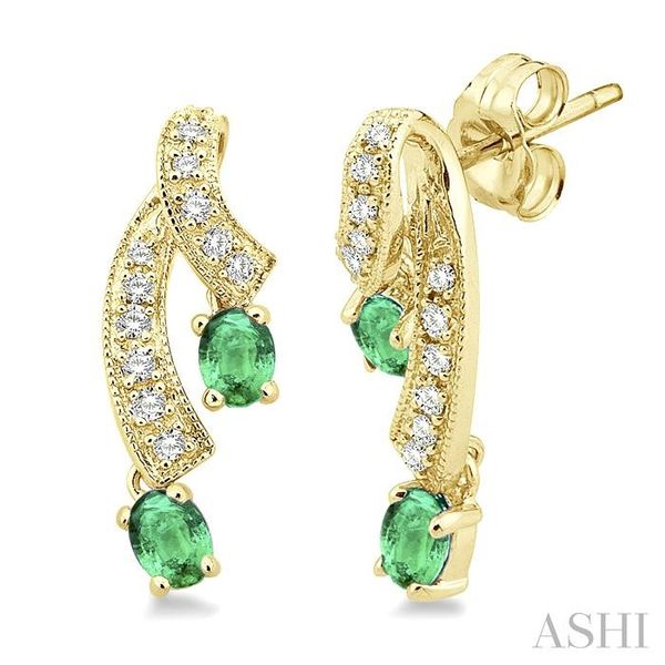 4x3MM Oval Cut Emerald and 1/5 Ctw Round Cut Diamond Earrings in 14K Yellow Gold Trinity Diamonds Inc. Tucson, AZ