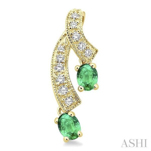 4x3MM Oval Cut Emerald and 1/5 Ctw Round Cut Diamond Earrings in 14K Yellow Gold Image 2 Trinity Diamonds Inc. Tucson, AZ