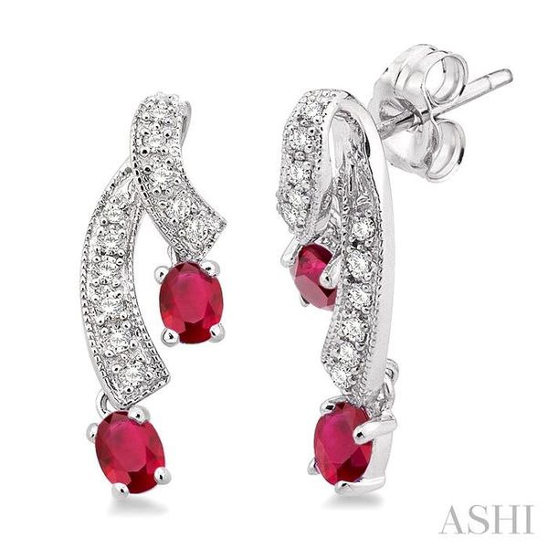 4x3MM Oval Cut Ruby and 1/5 Ctw Round Cut Diamond Earrings in 14K White Gold Trinity Diamonds Inc. Tucson, AZ