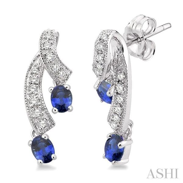 4x3MM Oval Cut Sapphire and 1/5 Ctw Round Cut Diamond Earrings in 14K White Gold Trinity Diamonds Inc. Tucson, AZ