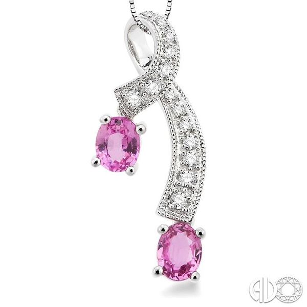 5x4MM Oval Cut Pink Sapphire and 1/6 Ctw Round Cut Diamond Pendant in 14K White Gold with Chain Image 3 Trinity Diamonds Inc. Tucson, AZ