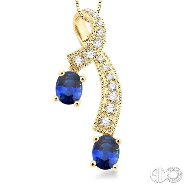 5x4MM Oval Cut Sapphire and 1/6 Ctw Round Cut Diamond Pendant in 14K Yellow Gold with Chain Image 3 Trinity Diamonds Inc. Tucson, AZ