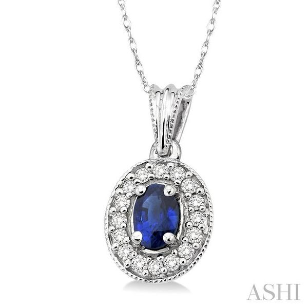 6x4mm Oval Cut Sapphire and 1/5 Ctw Round Cut Diamond Pendant in 14K White Gold with Chain Image 2 Trinity Diamonds Inc. Tucson, AZ