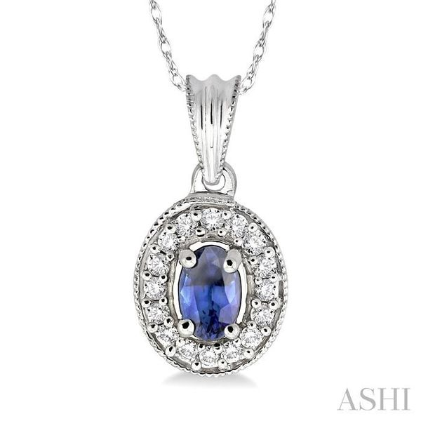 6x4mm Oval Cut Sapphire and 1/5 Ctw Round Cut Diamond Pendant in 14K White Gold with Chain Trinity Diamonds Inc. Tucson, AZ