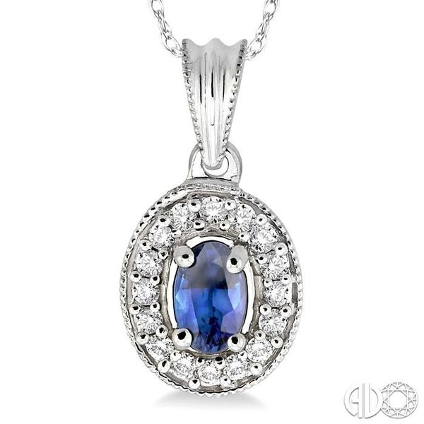 6x4mm Oval Cut Sapphire and 1/5 Ctw Round Cut Diamond Pendant in 14K White Gold with Chain Image 3 Trinity Diamonds Inc. Tucson, AZ