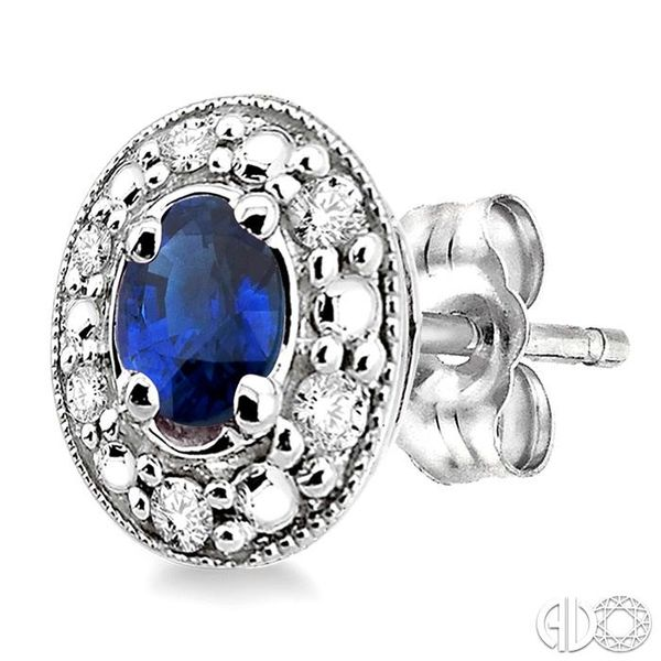 4x3MM Oval Shaped Sapphire and 1/10 Ctw Single Cut Diamond Earrings in 10K White Gold Image 3 Trinity Diamonds Inc. Tucson, AZ