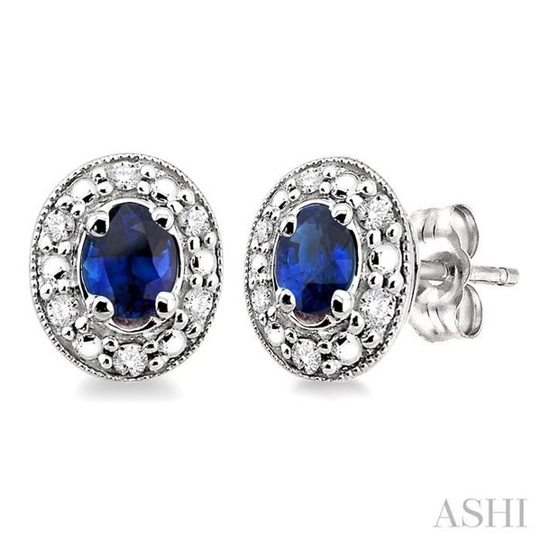 4x3MM Oval Shaped Sapphire and 1/10 Ctw Single Cut Diamond Earrings in 10K White Gold Trinity Diamonds Inc. Tucson, AZ