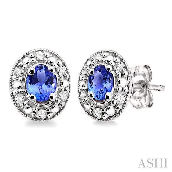 4x3MM Oval Shaped Tanzanite and 1/10 Ctw Single Cut Diamond Earrings in 10K White Gold Trinity Diamonds Inc. Tucson, AZ