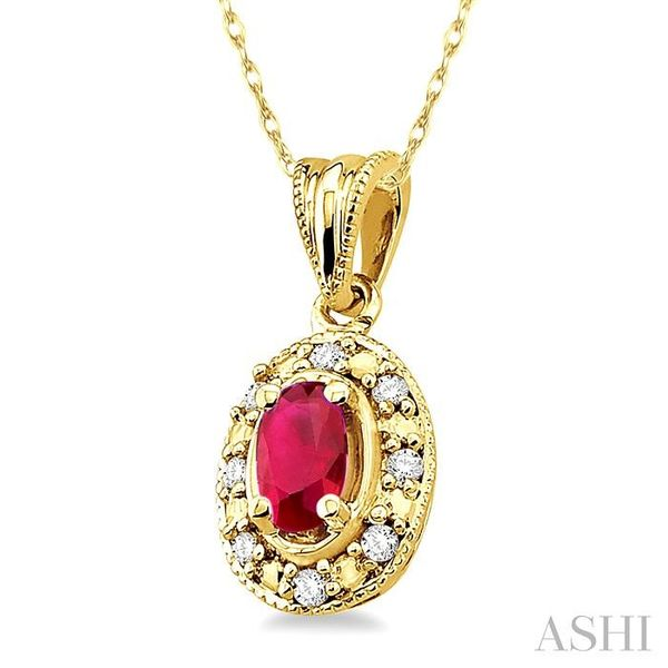 5x3mm Oval Shape Ruby and 1/20 Ctw Single Cut Diamond Pendant in 14K Yellow Gold with Chain Image 2 Trinity Diamonds Inc. Tucson, AZ