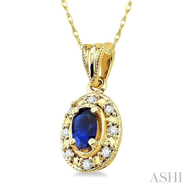 5x3mm Oval Shape Sapphire and 1/20 Ctw Single Cut Diamond Pendant in 14K Yellow Gold with Chain Image 2 Trinity Diamonds Inc. Tucson, AZ