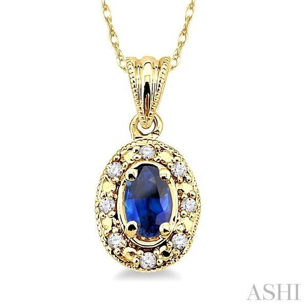 5x3mm Oval Shape Sapphire and 1/20 Ctw Single Cut Diamond Pendant in 14K Yellow Gold with Chain Trinity Diamonds Inc. Tucson, AZ
