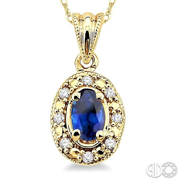 5x3mm Oval Shape Sapphire and 1/20 Ctw Single Cut Diamond Pendant in 14K Yellow Gold with Chain Image 3 Trinity Diamonds Inc. Tucson, AZ