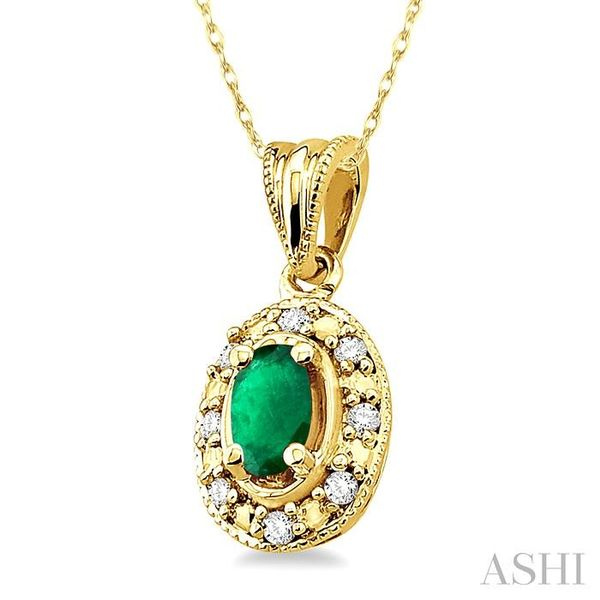 5x3mm Oval Shape Emerald and 1/20 Ctw Single Cut Diamond Pendant in 10K Yellow Gold with Chain. Image 2 Trinity Diamonds Inc. Tucson, AZ