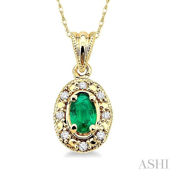5x3mm Oval Shape Emerald and 1/20 Ctw Single Cut Diamond Pendant in 10K Yellow Gold with Chain. Trinity Diamonds Inc. Tucson, AZ