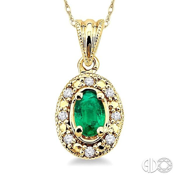 5x3mm Oval Shape Emerald and 1/20 Ctw Single Cut Diamond Pendant in 10K Yellow Gold with Chain. Image 3 Trinity Diamonds Inc. Tucson, AZ