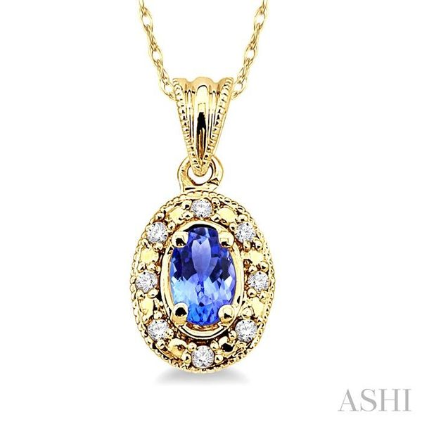 5x3mm Oval Shape Tanzanite and 1/20 Ctw Single Cut Diamond Pendant in 10K Yellow Gold with Chain Trinity Diamonds Inc. Tucson, AZ