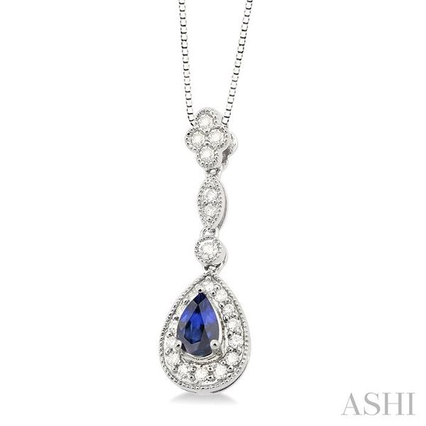 6x4MM Pear Shape Sapphire and 1/4 Ctw Round Cut Diamond Pendant in 14K White Gold with Chain Image 2 Trinity Diamonds Inc. Tucson, AZ