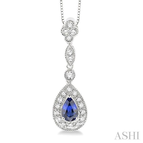6x4MM Pear Shape Sapphire and 1/4 Ctw Round Cut Diamond Pendant in 14K White Gold with Chain Trinity Diamonds Inc. Tucson, AZ