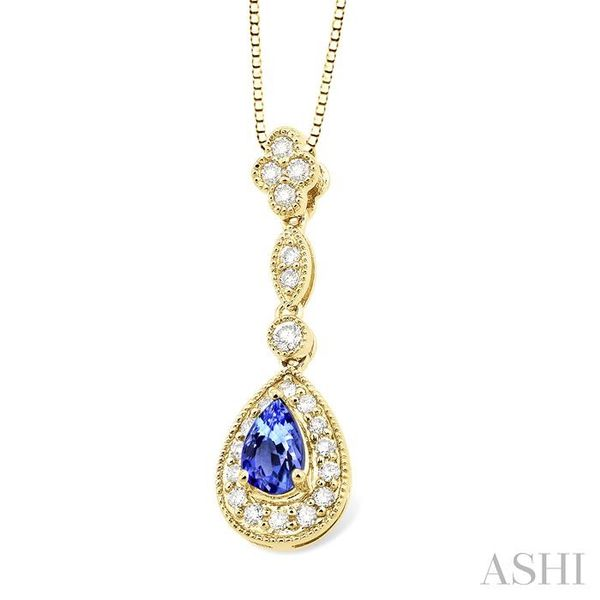 6x4MM Pear Shape Tanzanite and 1/4 Ctw Round Cut Diamond Pendant in 14K Yellow Gold with Chain Image 2 Trinity Diamonds Inc. Tucson, AZ