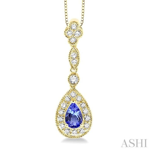 6x4MM Pear Shape Tanzanite and 1/4 Ctw Round Cut Diamond Pendant in 14K Yellow Gold with Chain Trinity Diamonds Inc. Tucson, AZ