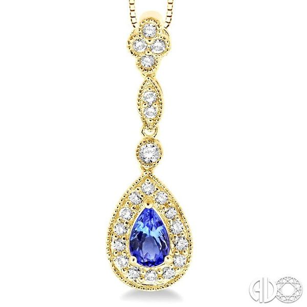 6x4MM Pear Shape Tanzanite and 1/4 Ctw Round Cut Diamond Pendant in 14K Yellow Gold with Chain Image 3 Trinity Diamonds Inc. Tucson, AZ