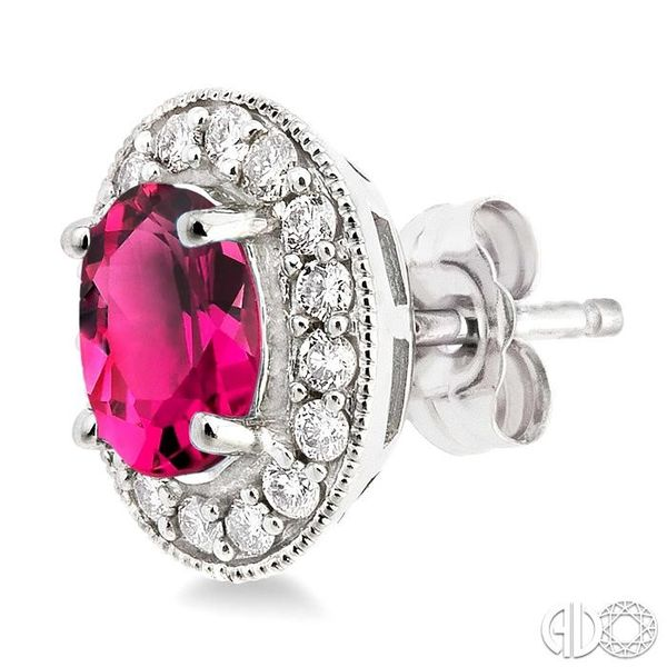 7x5mm Oval Cut Pink Tourmaline and 3/8 Ctw Round Cut Diamond Earrings in 14K White Gold Image 3 Trinity Diamonds Inc. Tucson, AZ