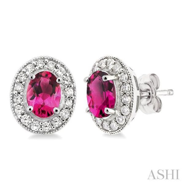 7x5mm Oval Cut Pink Tourmaline and 3/8 Ctw Round Cut Diamond Earrings in 14K White Gold Trinity Diamonds Inc. Tucson, AZ
