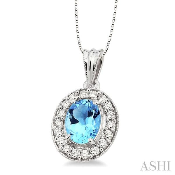 8x6mm Oval Cut Blue Topaz and 1/3 Ctw Round Cut Diamond Pendant in 14K White Gold with Chain Image 2 Trinity Diamonds Inc. Tucson, AZ
