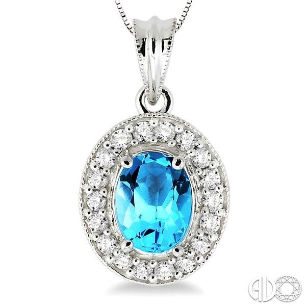 8x6mm Oval Cut Blue Topaz and 1/3 Ctw Round Cut Diamond Pendant in 14K White Gold with Chain Image 3 Trinity Diamonds Inc. Tucson, AZ