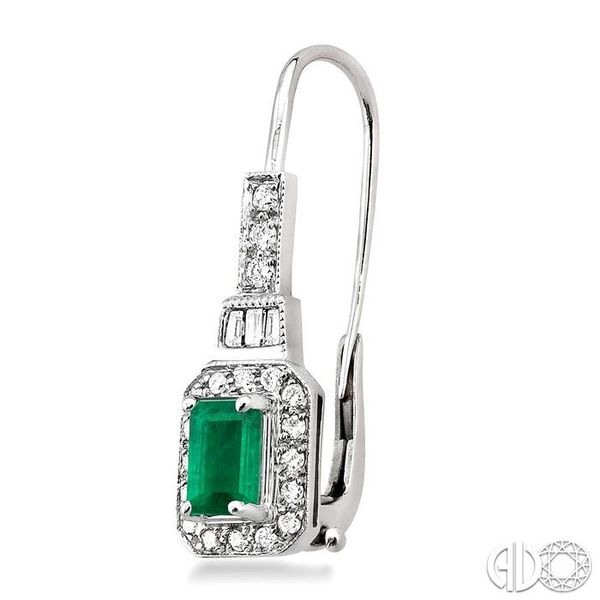 6x4mm Octagon Cut Emerald and 1/2 Ctw Baguette and Round Cut Diamond Earrings in 14K White Gold Image 3 Trinity Diamonds Inc. Tucson, AZ