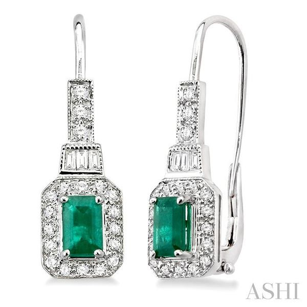 6x4mm Octagon Cut Emerald and 1/2 Ctw Baguette and Round Cut Diamond Earrings in 14K White Gold Trinity Diamonds Inc. Tucson, AZ
