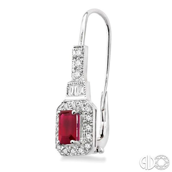 6x4MM Octagon Cut Ruby and 1/2 Ctw Baguette and Round Cut Diamond Earrings in 14K White Gold Image 3 Trinity Diamonds Inc. Tucson, AZ
