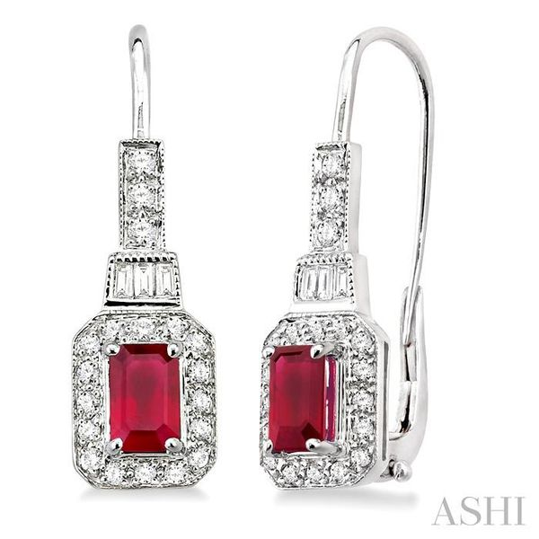 6x4MM Octagon Cut Ruby and 1/2 Ctw Baguette and Round Cut Diamond Earrings in 14K White Gold Trinity Diamonds Inc. Tucson, AZ