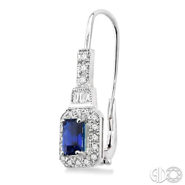 6x4MM Octagon Cut Sapphire and 1/2 Ctw Baguette and Round Cut Diamond Earrings in 14K White Gold Image 3 Trinity Diamonds Inc. Tucson, AZ