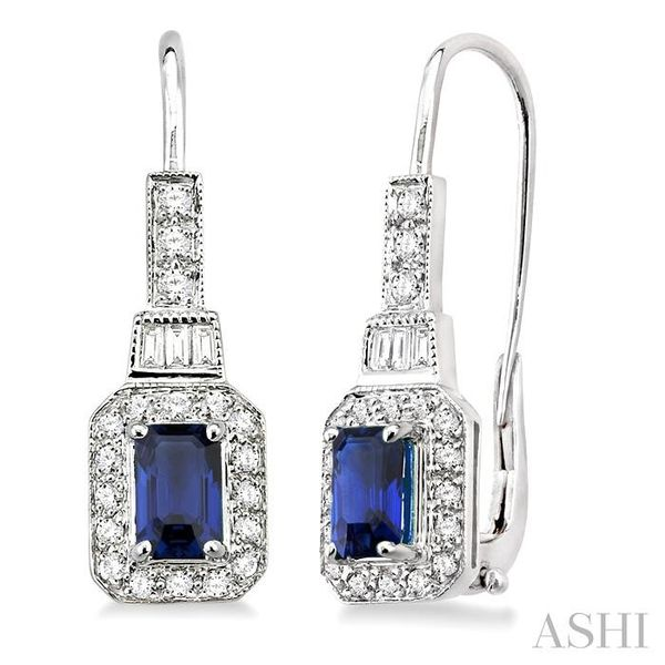6x4MM Octagon Cut Sapphire and 1/2 Ctw Baguette and Round Cut Diamond Earrings in 14K White Gold Trinity Diamonds Inc. Tucson, AZ