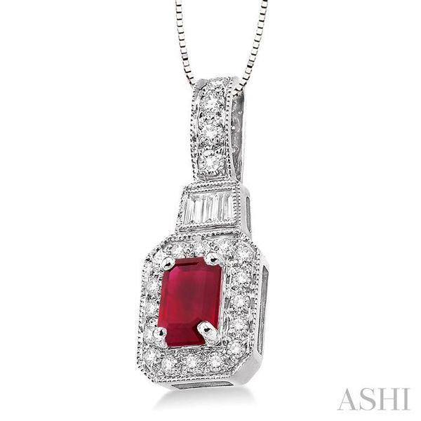 7x5mm Octagon Cut Ruby and 1/2 Ctw Round and Baguette Cut Diamond Pendant in 14K White Gold with Chain Image 2 Trinity Diamonds Inc. Tucson, AZ