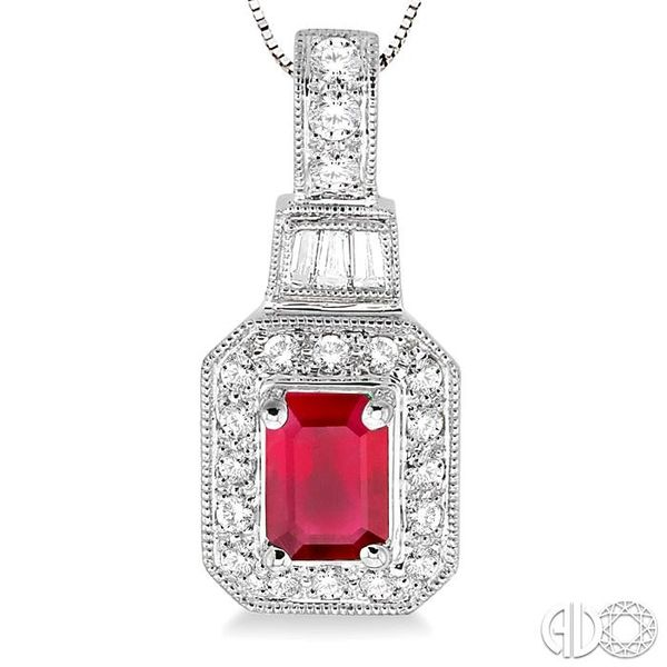 7x5mm Octagon Cut Ruby and 1/2 Ctw Round and Baguette Cut Diamond Pendant in 14K White Gold with Chain Image 3 Trinity Diamonds Inc. Tucson, AZ