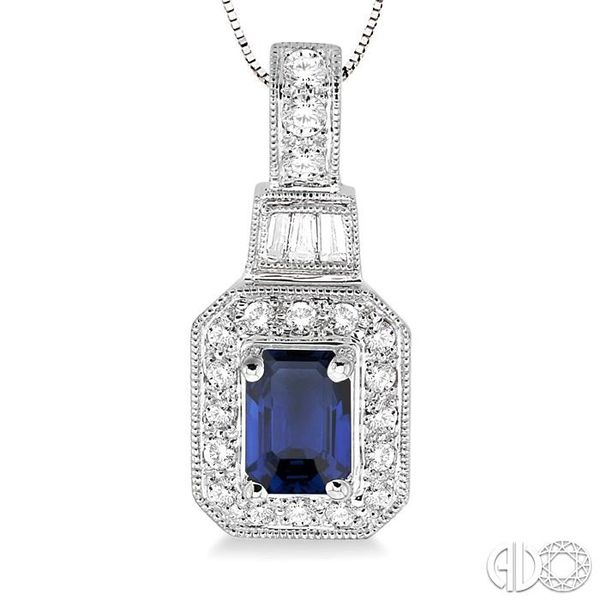 6x4 MM Octagon Cut Sapphire and 1/4 Ctw Round and Baguette Cut Diamond Pendant in 14K White Gold with Chain Image 3 Trinity Diamonds Inc. Tucson, AZ